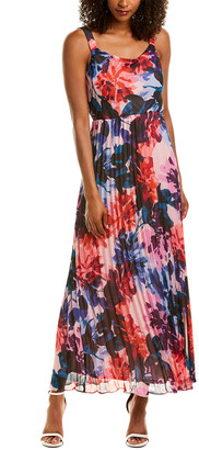 Donna Ricco Pleated Maxi Dress