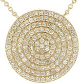 Ron Hami Yellow Gold and Pave Diamond Disc Pendant Necklace - 0.70 ctw