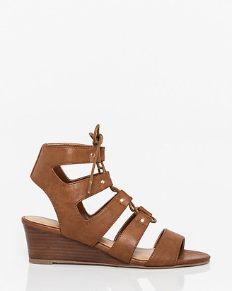 Le Château Faux Leather Ghillie Tie Wedge Sandal