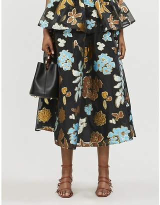 Stine Goya Laila floral-jacquard organza midi skirt