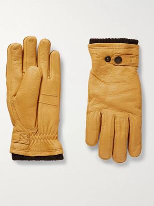 Hestra Utsjo Fleece-Lined Full-Grain Leather And Wool-Blend Gloves