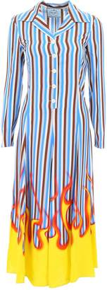 Prada Striped Flame Print Shirt Dress