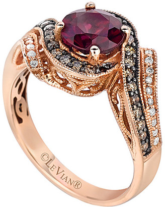 LeVian Le Vian Chocolatier 14K Rose Gold 1.71 Ct. Tw. Diamond & Rhodolite Ring