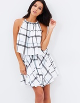 Shona Joy Plaid Layered Drawstring Dress