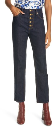 Tory Burch Button Fly Crop Jeans