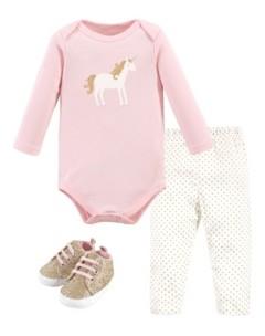 Hudson Baby Baby Girls Gold-Tone Unicorn Bodysuit, Pant and Shoe Set, Pack of 3
