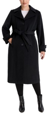 Anne Klein Plus Size Single-Breasted Belted Maxi Coat, Created for Macy's