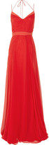 Halterneck silk-chiffon gown