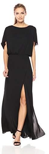 Halston Women's Flowy Short Sleeve Wide Boatneck Gown with Split
