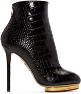 Charlotte Olympia Black Croc-Embossed Doreen Boots