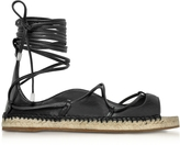 DSQUARED2 Riri Black Nappa Leather Lace-up Flat Espadrilles