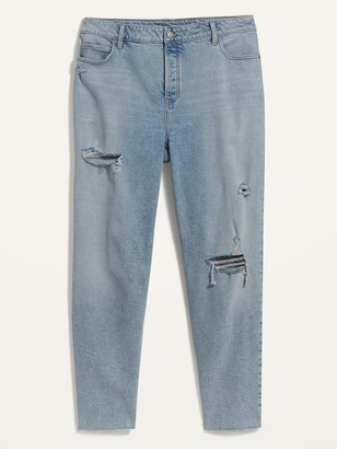 Old Navy Extra High-Waisted Sky Hi Straight Secret-Slim Pockets Plus-Size Button-Fly Ripped Jeans