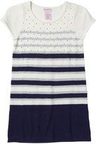 Design History Rhinstones Striped Dress (Toddler/Kid)-White/Blue-2T