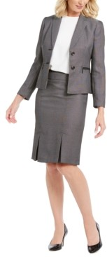 Le Suit Pleated-Hem Skirt Suit