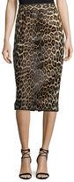J. Mendel Leopard-Print Calf Hair Pencil Skirt