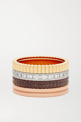 Boucheron Quatre Classique Large 18-karat Yellow, White And Rose Gold, Pvd And Diamond Ring - 51