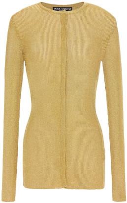Dolce & Gabbana Metallic Ribbed-knit Cardigan