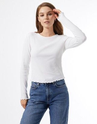 Miss Selfridge long sleeve crew neck top in ivory