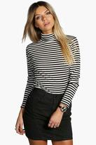 Boohoo Petite Darcy Ribbed Striped Turtle Neck Top