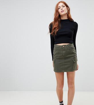 New Look denim utility skirt in khaki