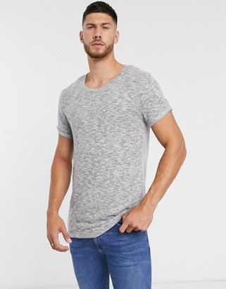 Asos Design DESIGN longline t-shirt with curved hem and scoop neck with roll sleeve in brushed fabric in grey