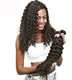 """Helene Hair Brazilian Virgin Hair Human Hair 7A 4pcs 12""""14""""16""""18"""" Deep Wave Weave Hair Extension 8-30 Inch Naturl Black Hair Bundles"""