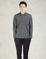 Sunspel Charcoal Long Sleeve Pique Shirt