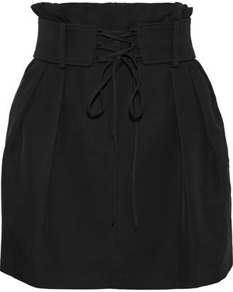 IRO Belted Distressed Denim Mini Skirt