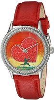 "Proenza Schouler The Collection by Arjang and Co. Women's AZ-1010S-RD ""All Heart"" Red Leather Strap Watch and Sterling Silver Pendant Gift Set"