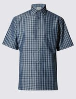 Marks and Spencer Short Sleeve Easy Care Soft Touch Checked Shirt with Modal