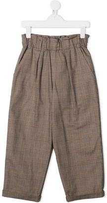 BRUNELLO CUCINELLI KIDS Paperbag Check Trousers