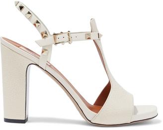 Valentino Rockstud Pebbled-leather Sandals