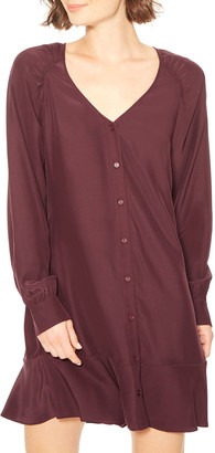 Parker Calantha Button-Front Silk Short Dress