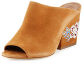 Tory Burch Embroidered Suede 95mm Mule