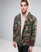 Asos Military Jacket With Four Pockets and Badges in Camo Print