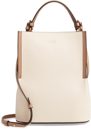 Burberry Small Peggy Bicolor Leather Bucket Bag
