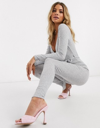 I SAW IT FIRST skinny ribbed jumpsuit in grey