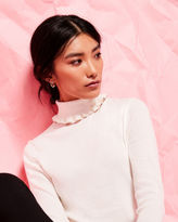 Ted Baker Frilled cotton and silk-blend roll neck jumper