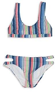 Splendid Girls' Holding Pattern Sport Bra & Cutout Bottom Two Piece Swimsuit - Big Kid