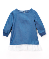 Sweet & Soft Light Blue Denim Ruffle-Hem Dress - Infant & Toddler