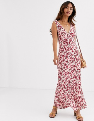 Free People Ohh La La plunge printed midi dress-Black