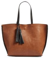 Phase 3 Whipstitch Tassel Faux Leather Tote - Brown
