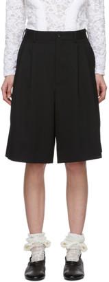 Comme des Garcons Black Wool Pleat Shorts