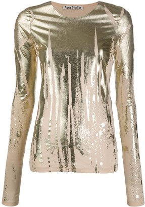 Acne Studios Metallic-Print Long Sleeve Top