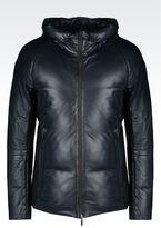 Emporio Armani Hooded Blouson In Napa Leather