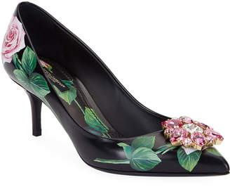 Dolce & Gabbana Floral Printed Leather Ornament Pumps