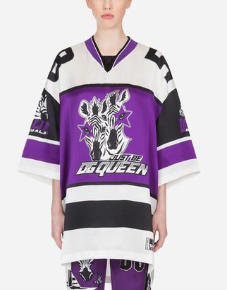 Dolce & Gabbana Satin T-Shirt With Zebra Jungle Sport Print