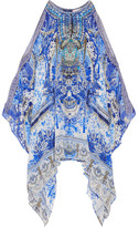 Camilla Chinese Whispers Embellished Printed Silk Crepe De Chine Kaftan - Blue