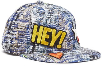 Venna 'Hey Love' mix applique tweed baseball cap