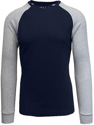 Galaxy By Harvic Galaxy by Harvic Men's Tee Shirts Navy/Heather - Navy & Heather Gray Raglan Thermal Shirt - Men